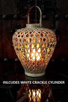 "18""H WOOD LATTICE LANTERN W/  WHITE CRACKLE CYLINDER INCLUDED [901328]"