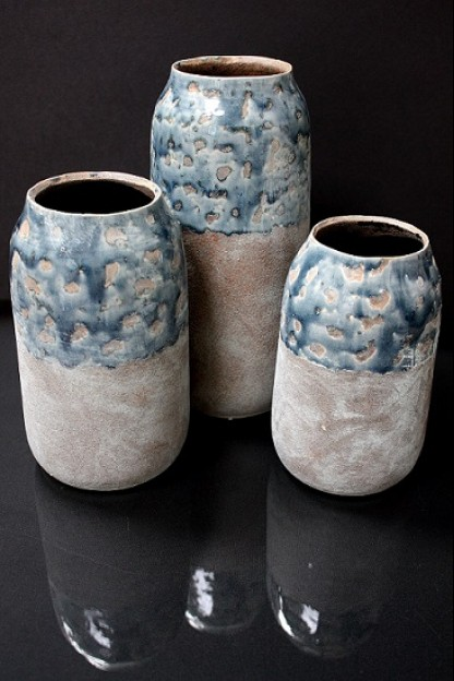 "Small Ceramic  Vase with Marbleized  Design and Distressed Finish 4.50""x4.50""x7.25""H (479344)"