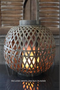 "OUT OF STOCK 13""D x 14""H WOOD LATTICE LANTERN W/ WHITE CRACKLE GLASS CYLINDER (901362)"