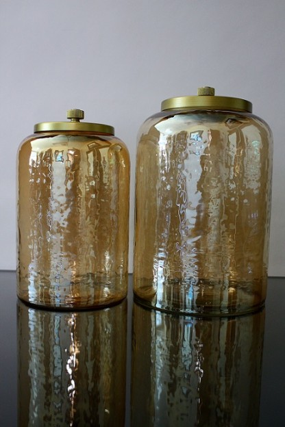 "6.5""D x 11""H LARGE, GOLD GLASS JAR WITH METAL LID [515625]"