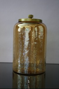 "5.5""D x 9.75""H SMALL, GOLD GLASS JAR WITH METAL LID [515626]"