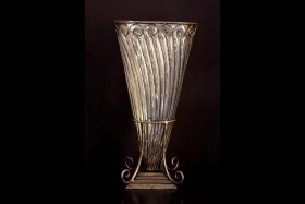 METAL & GLASS VASE 16""