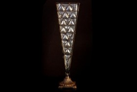 METAL & GLASS VASE 18""