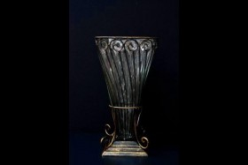 METAL AND GLASS VASE 13 INCH