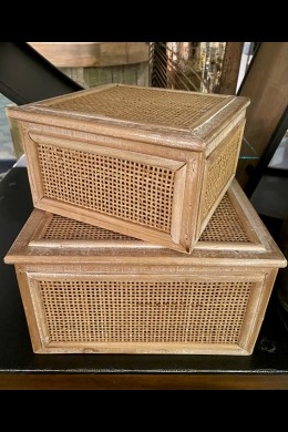"SET OF 2  8"", 10""W RATTAN WOOD BOXES [201552]"