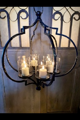 "17""Wx19""H BLACK METAL CANDLE HOLDER [201544]"