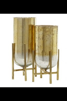 "SET OF 2  16"", 18""H ALUMINUM GLASS VASE W/ STAND [201554] SHIP PALLET ONLY"