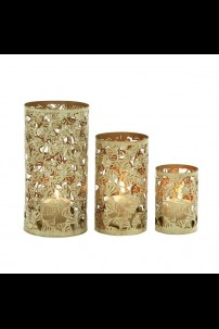 "METAL CANDLE HOLDER SET OF 3- 6"", 9"", 12""H (201411)"