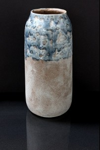"Large Ceramic Vase with  Marbleized  Design and Distressed Finish 5.25""x5.25""x11.00""H (479346)"