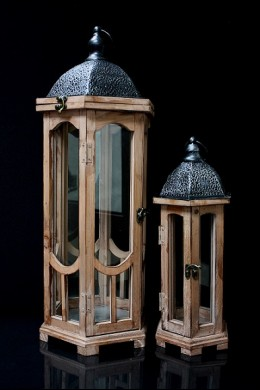 "Set of Two Wood Lanterns with Weathered Wood Finish Dark Brown 10.00""x8.50""x24.50""H; 6.50""x5.50""x15.75""H SHIP PALLET ONLY (479351)"