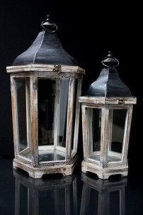 OUT OF STOCK-SET OF TWO WOOD HEXAGON LANTERNS WITH BLACK METAL TOP WITH NATURAL FINISH  [479354] SHIPS PALLET ONLY