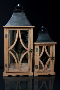 OUT OF STOCK SET OF TWO NATURAL FINISH LANTERNS WITH METAL TOP * PALLET ONLY [479355]