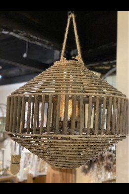 NATURAL BROWN FINISH RATTAN LANTERN W ROPE.   [479369]