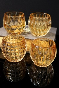 4 ASSORTED AMBER GLASS VOTIVE HOLDERS (MINIMUM OF 4 SETS)  [481460]