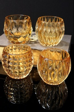 4 ASSORTED AMBER GLASS VOTIVE HOLDERS (MINIMUM OF 3 SETS)  [481460]