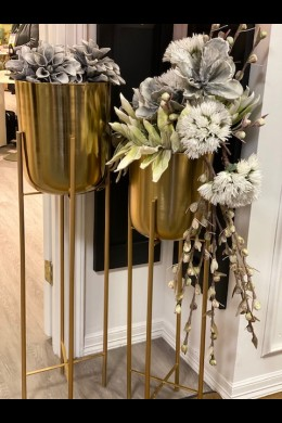 "39""H, 46""H SET OF 2 GOLD METAL FLOOR PLANTER'S   (201528)"