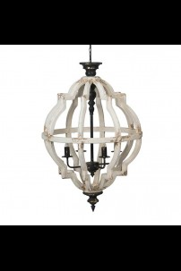 "23""D x 35""H DISTRESSED WHITE 4 LIGHT CHANDELIER (901360) SHIPS PALLET ONLY"