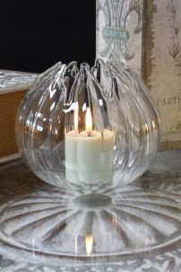 "4.5""H SHIMMERING GLASS LILY VOTIVE HOLDER [901354]"