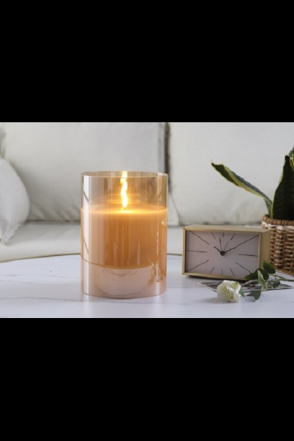 "OUT OF STOCK  6""D x 8""H CHAMPAGNE RADIANCE POURED CANDLE   [478247]"