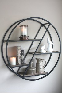 METAL ROUND SHELF W 4 WOOD SHELVES 36x9x36 (479356) PRE-ORDER MID JANUARY
