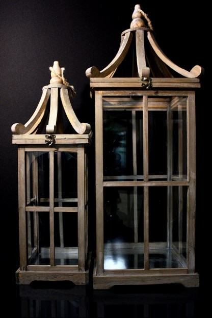 WOOD SQUARE LANTERN W/ ROPE SET OF 2  11.5x11.5x32,9x9.5x24.5 (479357) SHIPS PALLET ONLY PRE-ORDER MID-JANUARY
