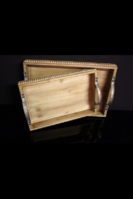 SET OF 2 WOODEN TRAYS WITH WHITE-WASHED DETAILING (485401)