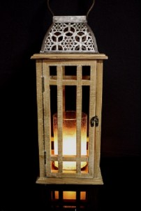 "20.5"" H WOODEN LANTERN WITH METAL ACCENTS  [485404]"