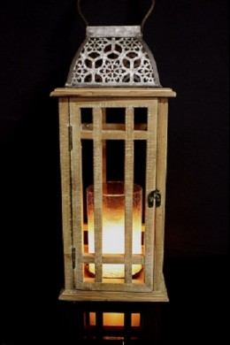 """20.5"""" H WOODEN LANTERN WITH METAL ACCENTS  [485404]"""