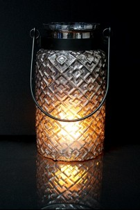 "METAL GLASS LANTERN 7""W, 12""H (201469)"