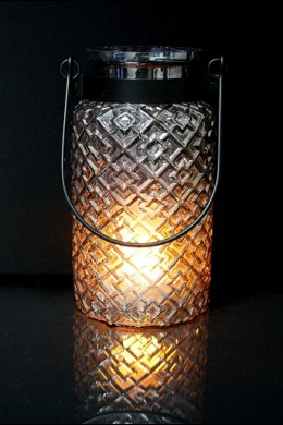 "12""H METAL GLASS LANTERN  [201469]"
