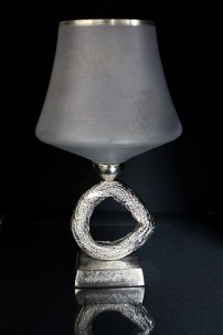 "ALUMINUM GLASS CANDLE HOLDER 9"",16""H (201462) CURRENTLY UNAVAILABLE"