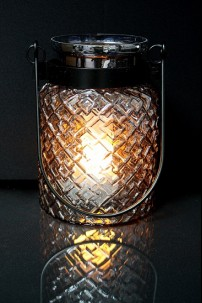 "METAL GLASS LANTERN 7""W, 9""H (201468)"