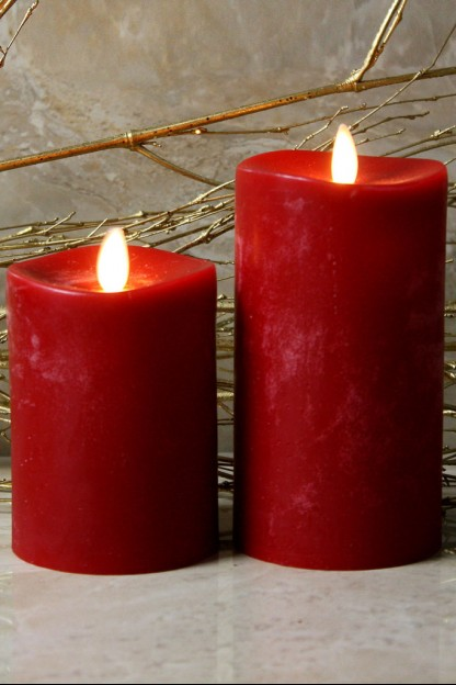 """Red Moving Flame,Melted Edge, Scented, Remote Ready, 3x6"""" [428522]"""
