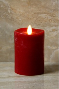 "Red Moving Flame,Melted Edge, Scented, Remote Ready 3x4""  [428521]"
