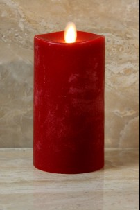 "Red Moving Flame,Melted Edge, Scented, Remote Ready, 3x6"" [428522]"