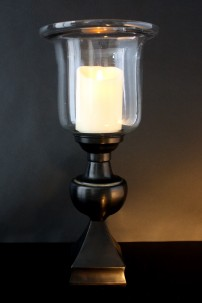 Metal Glass Candle Holder 21 Inch [201102]