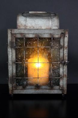 "Metal Glass Lantern Height: 15"" [201109]"