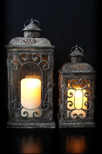 "Metal and Glass Lantern (Set of 2) Height: 15"", 20"" [201119]"