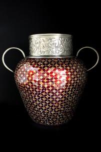 "Metal Glass Mosaic Vase 22""W, 20""H [201251]"