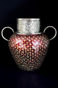"Metal Glass Mosaic Vase 20""W, 17""H [201252]"