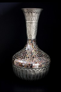 "Metal Glass Mosaic Vase 11""W, 20""H [201254]"