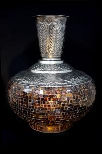"Metal Glass Mosaic Vase 18""W, 22""H [201255]"