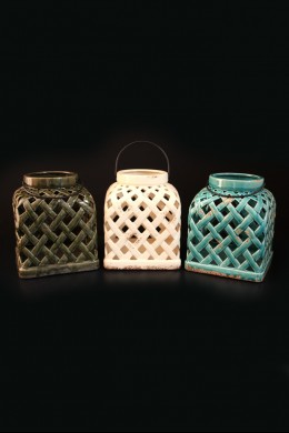 "Ceramic Lantern 3 Assorted Height 9"" [201267]"