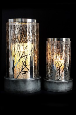 "Metal Candle Holder Set of 2 11"", 8""H* [201278]"