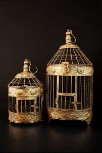 "Metal Bird Cage (Set of 2) Height: 16"", 24"" [201281]"