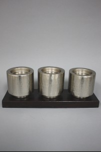 """Metal Wood Candle Holder 16""""W, 6""""H [201327]"""