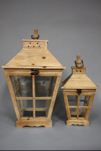 "Wood Glass Lantern (Set of 2) 22"", 16""H [201335]"