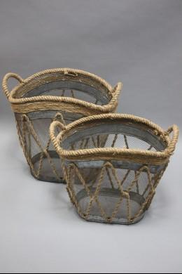 "Metal Burlap Basket (SET OF 2) 19"", 18"" [201347]"