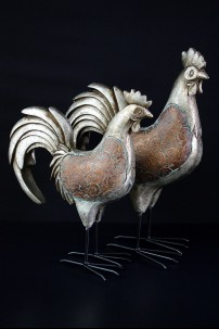 Metal Roosters (Set of 2) [201376]