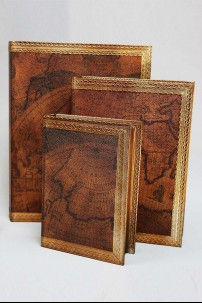 Wood Leather Book Box set of 3 [201384]